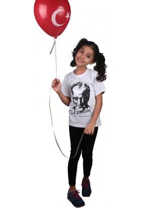 Modakids Unisex Çocuk Atatürk Baskılı Beyaz T-Shirt 019-1924-027