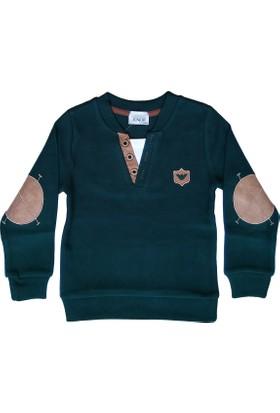 DobaKids Selanik Kumaş Erkek Bebek Sweatshirt V Yaka