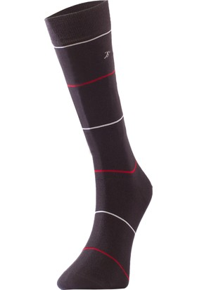 TheDON Antrasit Üzeri Renkli Çizgili Bamboo Erkek Çorap 3'lü Paket