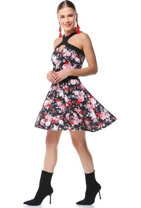 Nil Boyun Çapraz Çiçekli Elbise Cara