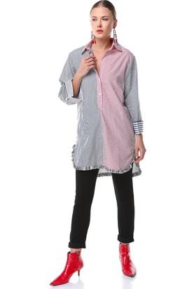 Nil Püsküllü Gömlek Elbise
