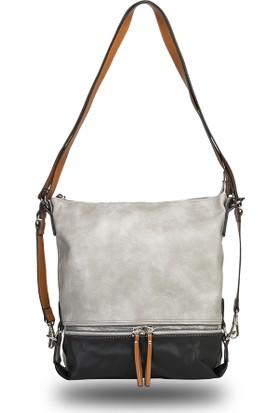 De Vib Çift Renkli Askılı Çanta - Gümüş/Siyah