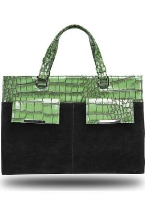 De Vib Süet / Krokodil Tasarım Çanta - Yeşil