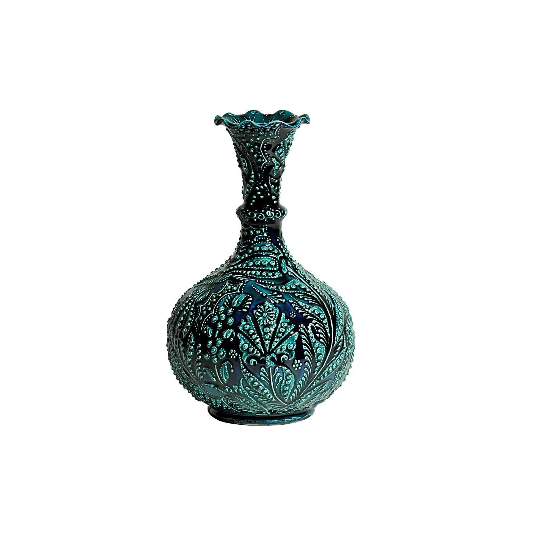 Kabartma Uygulamalı Sır Boyama Dekoratif çini Vazo Fiyatı