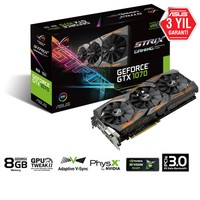 Asus ROG STRIX Nvidia GeForce GTX 1070 8GB 256Bit GDDR5 (DX12) PCI-E 3.0 Ekran Kartı (STRIX-GTX1070-8G-GAMING)