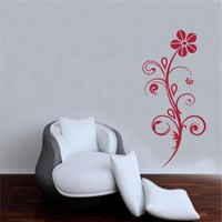 I Love My Wall Duvar Sticker Kırmızı Çiçek Desenli ( Sticker hediyeli! )