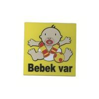 Demircioğlu Emzikli Arabada Bebek Var Vantuzlu Levha Sarı Kırmızı