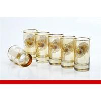 Yargıcı Amber Gold Çiçek Desenli Kahve Yanı Su Bardağı