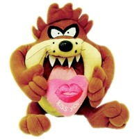 Tazmanya Canavarı Elinde Kalp ''Kiss You'' Peluş Oyuncak 20 cm