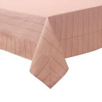 YastıkMinder Koton Bej Çizgili Nakışlı Kare Masa Örtüsü - 160x160 cm
