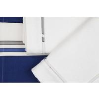 YastıkMinder Koton Beyaz Kumaş Lacivert Çizgili Aplikeli Pike Takımı