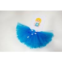 McBaby Tütü Etek+Saç Bandı Tasarım Mavi Yıldız 1 2Yaş