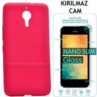 Kılıfland General Mobile Gm5 Plus Kılıf Matrix Noktalı Silikon Kırılmaz Cam Film
