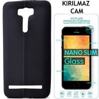 Exclusive Phone Case Asus Zenfone Laser Ze601Kl Kılıf Dikişli Silikon +Tempered Glass