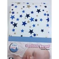 Ships Baby Poplin Lastikli Bebek Çarşafı (70X135) Mavi Yıldız