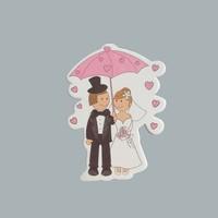Tahtakale Toptancısı Sticker Gelin-Damat Şemsiye Altında (50 Adet)