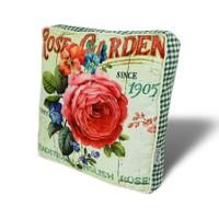 Gravel Çiçek Desenli Çok Amaçlı Yastık Minder - Kırmızı