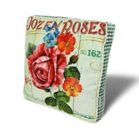 Gravel Renkli Çiçek Temalı Çok Amaçlı Yastık - Minder