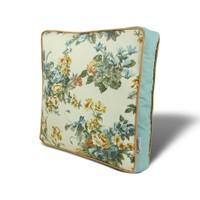 Gravel Mavi Sarı Çiçek Temalı Çok Amaçlı Yastık - Minder