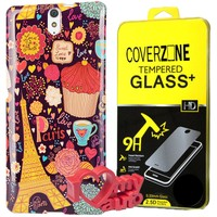 CoverZone Sony Xperia C5 Kılıf Desenli Silikon Paris + Kırılmaz Cam + 3d Araç Kokusu