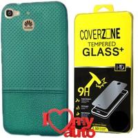 CoverZone Huawei GR3 Kılıf Dot Silikon Yeşil + Kırılmaz Cam + 3d Araç Kokusu