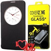 CoverZone Lg K7 Kılıf Quick Flip Cover Siyah + Kırılmaz Cam + 3d Araç Kokusu