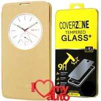CoverZone Lg K7 Kılıf Quick Flip Cover Gold + Kırılmaz Cam + 3d Araç Kokusu