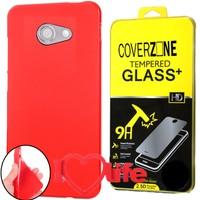 CoverZone Vodafone Smart Ultra 7 Kılıf Silikon Kırmızı + Kırılmaz Cam + 3d Araç Kokusu