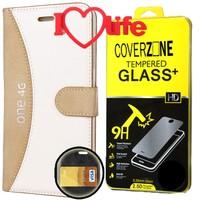 CoverZone General Mobile One 4G Kılıf Deri Kartvizitli Krem + Kırılmaz Cam + 3d Araç Kokusu