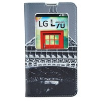 CoverZone LG L70 Kılıf Resimli Pencereli Kapaklı Eyfel Kulesi