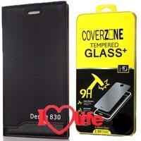CoverZone Htc Desire 830 Kılıf Vip Magnum Deri Siyah + Kırılmaz Cam + 3d Araç Kokusu