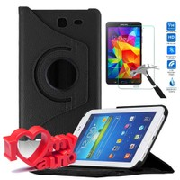 CoverZone Samsung Galaxy Tab 4 T230 Kılıf 360 Derece Döner Siyah + Cam + 3d Araç Kokusu