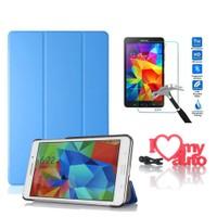 CoverZone Samsung Galaxy Tab 4 T230 Kılıf Book Cover Mavi + Cam + 3d Araç Kokusu
