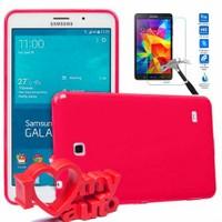 CoverZone Samsung Galaxy Tab 4 T230 Kılıf Soft Flexi Silikon Pembe + Cam + 3d Araç Kokusu