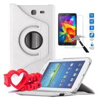 CoverZone Samsung Galaxy Tab 4 T230 Kılıf 360 Derece Döner Beyaz + Cam + 3d Araç Kokusu