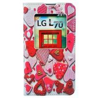 CoverZone LG L70 Kılıf Resimli Pencereli Kapaklı Kalpler