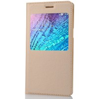 CoverZone Samsung Galaxy E5 Kılıf Flip Cover Gold