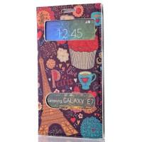 CoverZone Samsung Galaxy E7 Kılıf Çift Pencereli Resimli Paris In Love