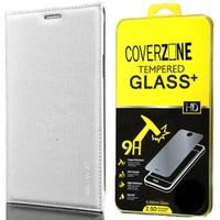 CoverZone Samsung Galaxy E7 Kılıf Kapaklı Rock Beyaz + Temperli Cam