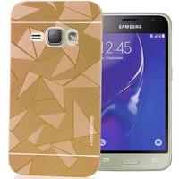 CoverZone Samsung Galaxy A7 Kılıf Metalik Sert Arka Kapak Prizma Desen Gold