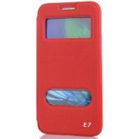 CoverZone Samsung Galaxy E7 Kılıf Kapaklı Çift Pencereli Merry Model Kırmızı