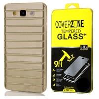 CoverZone Samsung Galaxy E7 Kılıf Çizgili Silikon Füme + Temperli Cam