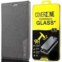 CoverZone Samsung Galaxy E7 Kılıf Kapaklı Rock Siyah + Temperli Cam