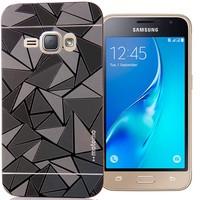 CoverZone Samsung Galaxy A7 Kılıf Metalik Sert Arka Kapak Prizma Desen Siyah