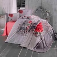 Lale Home Art Çift Kişilik Eyfeil Battaniyeli Nevresim Takımı - Kırmızı