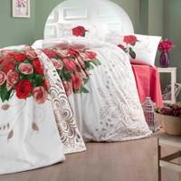 Lale Home Art Çift Kişilik Love Rose Battaniyeli Nevresim Takımı - Kırmızı