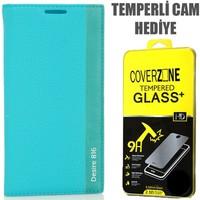 CoverZone HTC Desire 816 Kılıf Kapaklı Magnum Turkuaz + Temperli Cam
