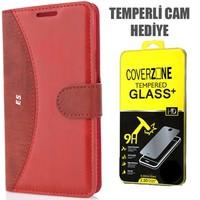 CoverZone Samsung Galaxy E5 Kılıf Delüks Cüzdan Kapaklı Kırmızı + Temperli Cam