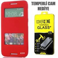 CoverZone HTC Desire 620 Kılıf Çift Pencereli Kapaklı Kırmızı + Temperli Cam