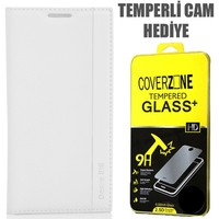 CoverZone HTC Desire 816 Kılıf Kapaklı Magnum Beyaz + Temperli Cam
